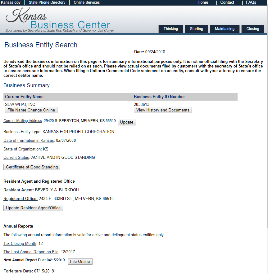 business entity search in kansas