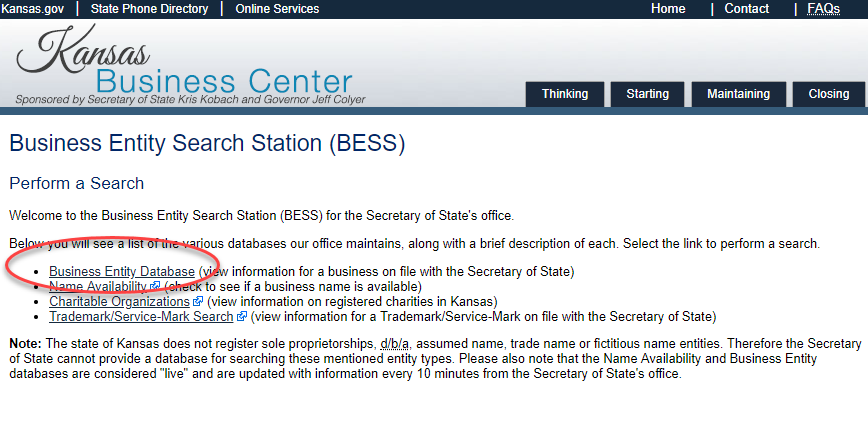 business entity search station