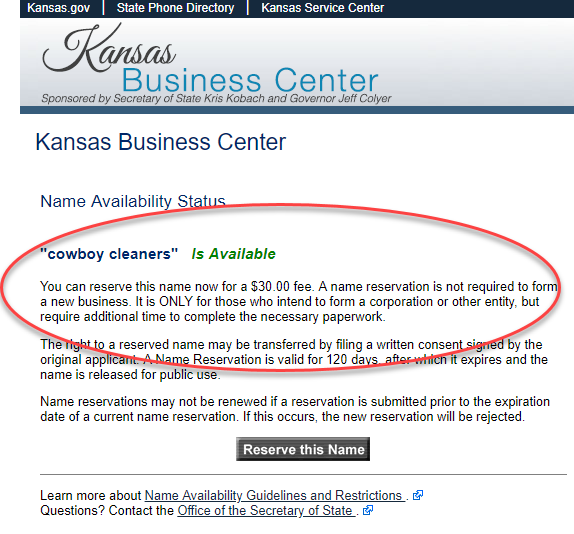 search for an llc name in kansas