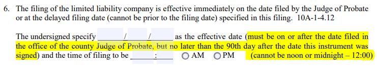 Alabama LLC Delayed Filing