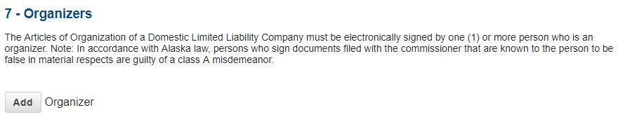 Alaska LLC Add Organizers