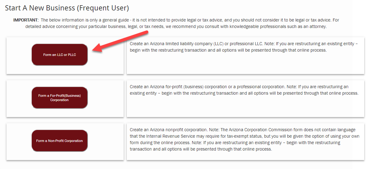arizona corporation commission - form an llc -