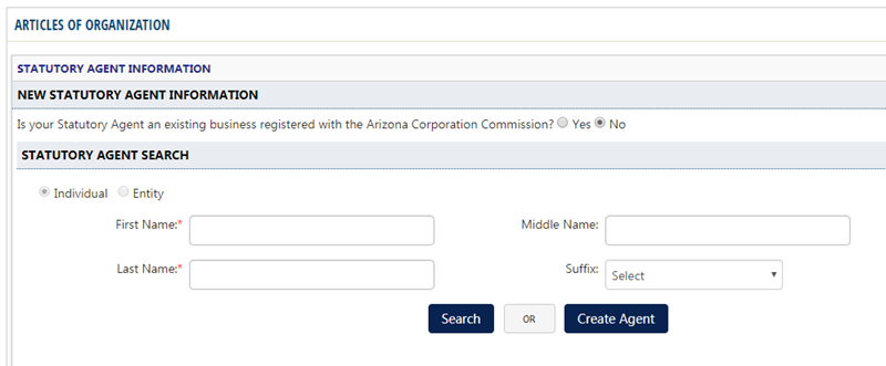 Arizona LLC Register Statutory Agent