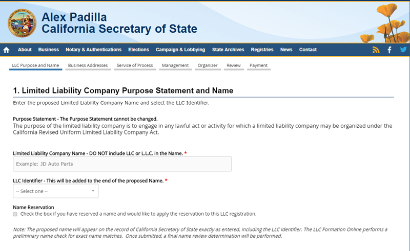California LLC Name Registration