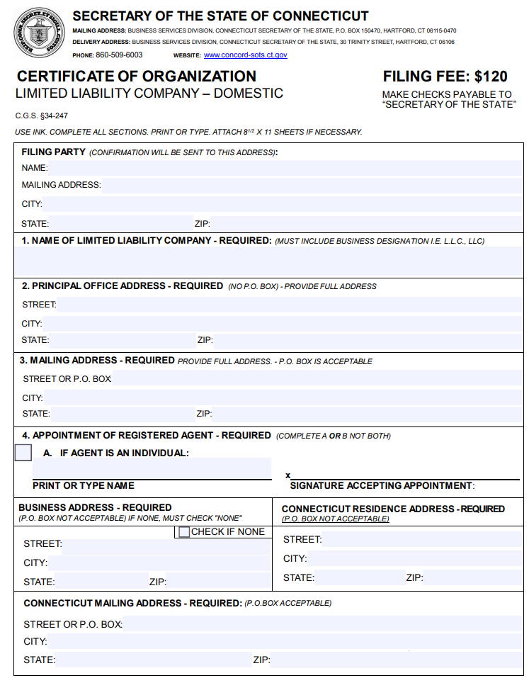 Connecticut LLC Certificate of Organization | PDF Download