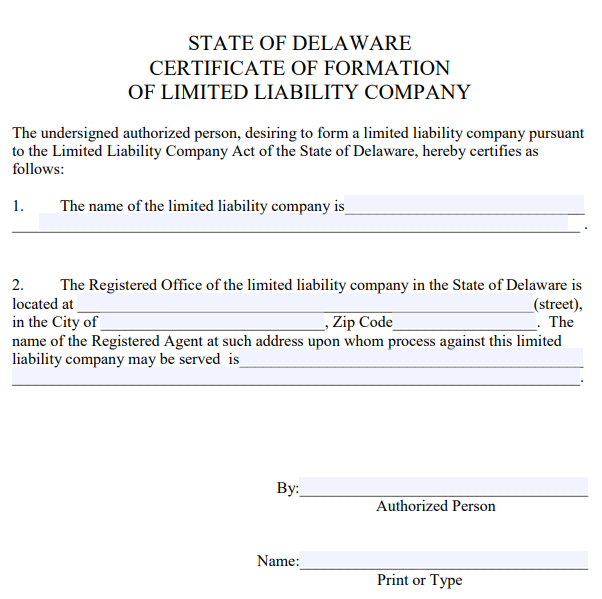 Delaware LLC Certificate of Formation | PDF Download