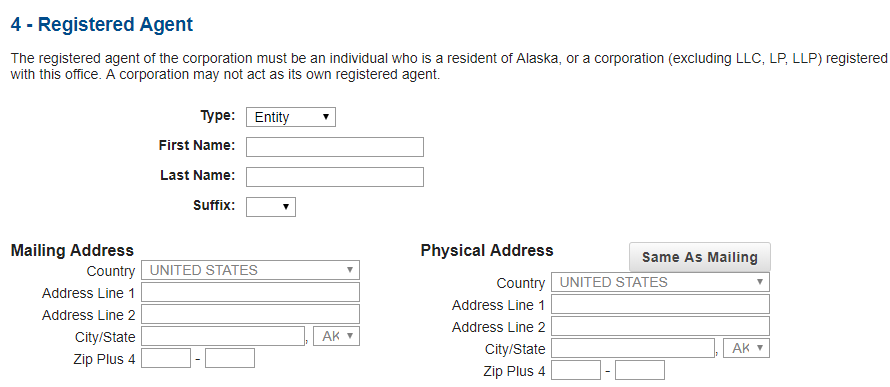 LLC in Alaska - Registered Agent