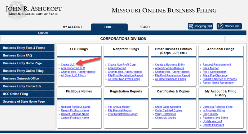 Create LLC Missouri SOS
