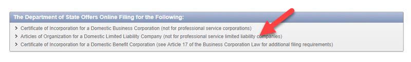 Form Articles of Organization NY LLC