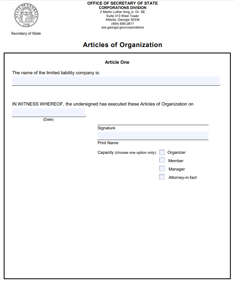 Georgia LLC Articles of Organization