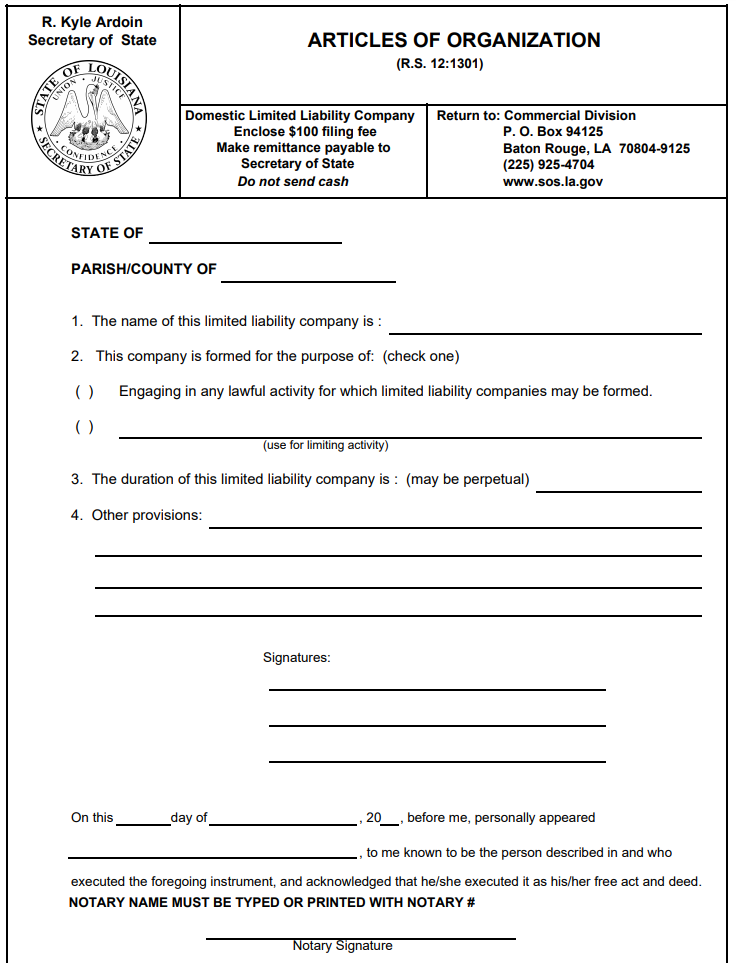 Louisiana LLC Articles of Organization