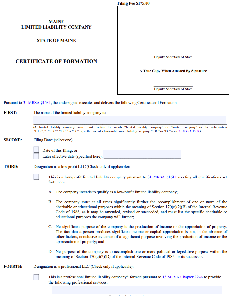 Maine LLC Certificate of Formation | PDF Download