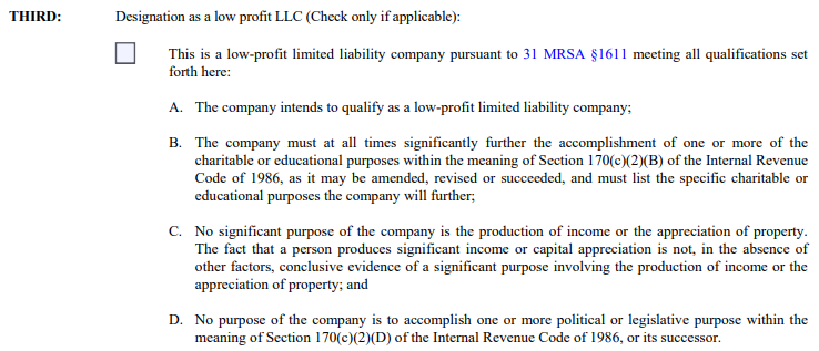 Maine LLC L3C Designation