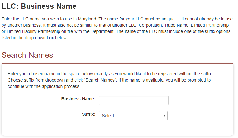 Maryland LLC Name Registration