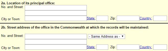 Massachusetts LLC Principal Office Address