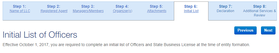 Nevada LLC Initial List of Officers