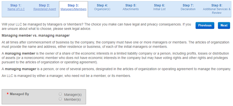 Nevada LLC Manager Member Managed