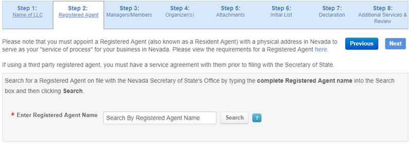 Nevada LLC Registered Agent