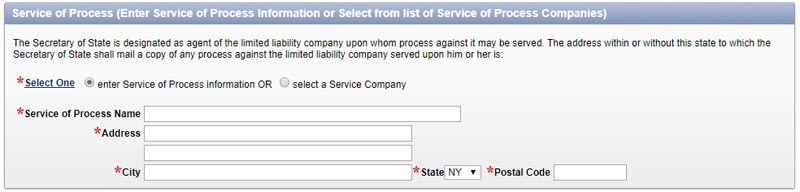 New York Limited Liability Company Service of Process