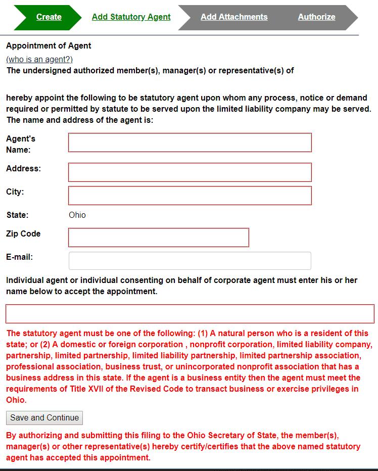 Ohio LLC Statutory Registered Agent