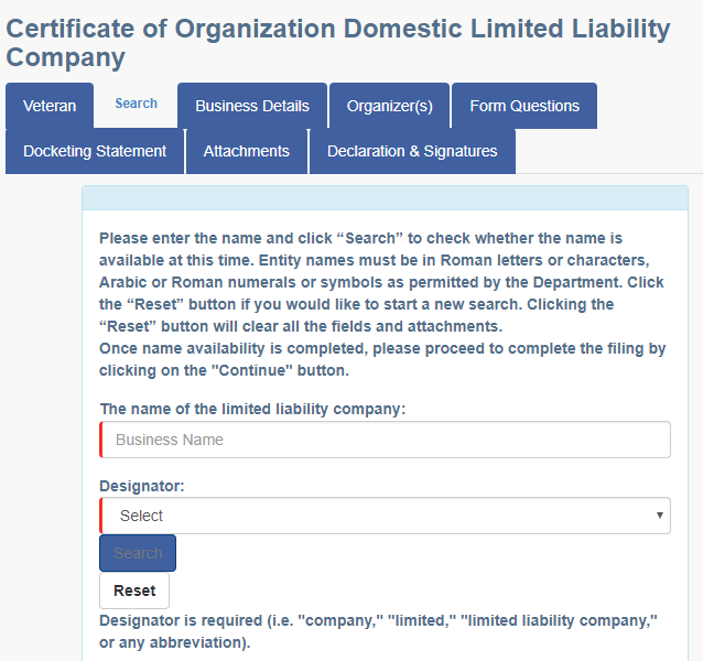 Pennsylvania LLC Name Registration
