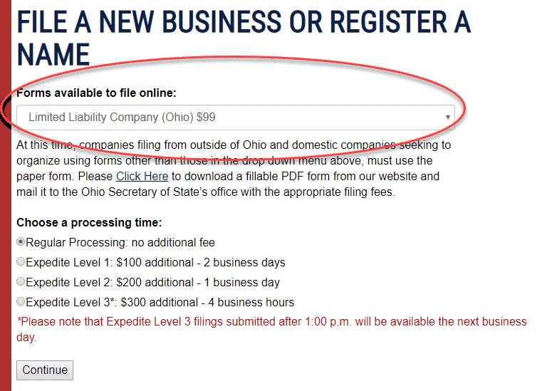 Register an LLC in Ohio
