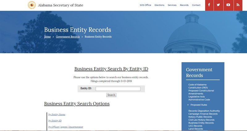 Alabama Entity search by ID