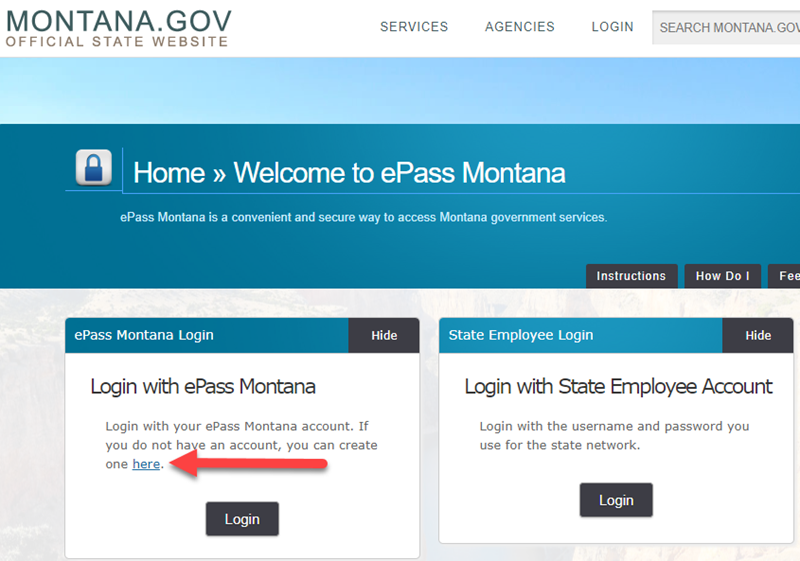 Sign up for an ePass Montana Account LLC