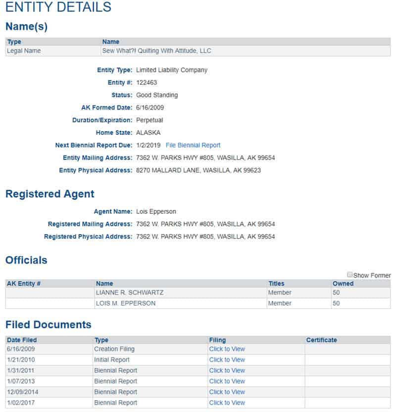 Alaska Business Entity Details