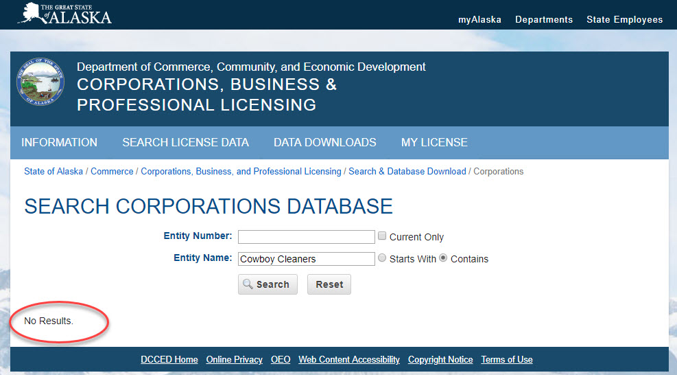 Alaska Business Entity Search