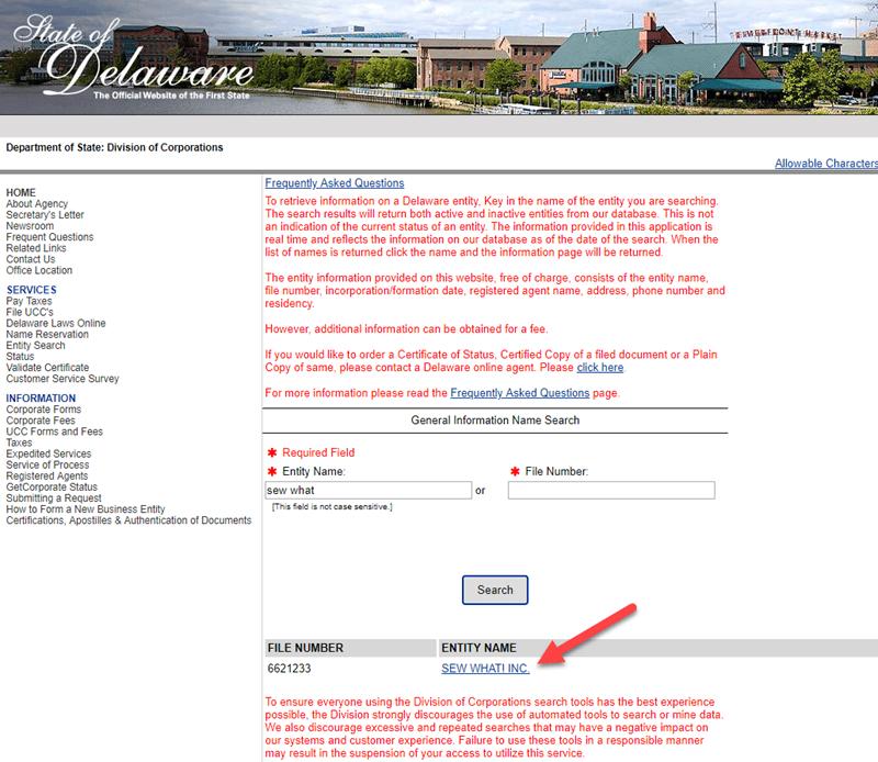 Delaware Business Entity Search