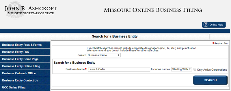 How to do a Business Name Search in Missouri