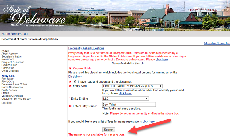 How to do a Delaware Business Name Search