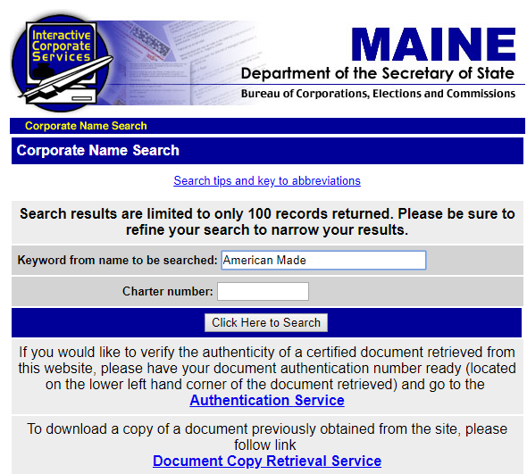 How to do a Maine Business Name Search
