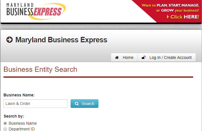 How to do a Maryland Business Name Search
