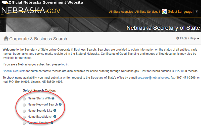 How to do a Nebraska Business Name Search