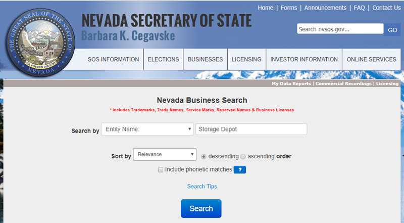 How to do a Nevada Business Name Search