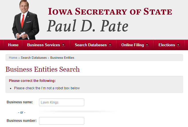 How to do an Iowa Business Name Search