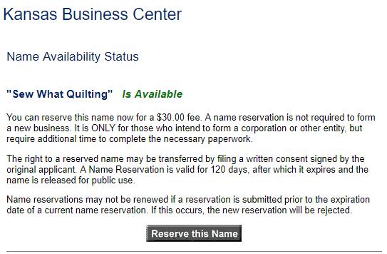 Kansas LLC Business Name Availability