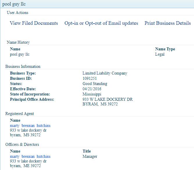 Mississippi LLC Business Name Details