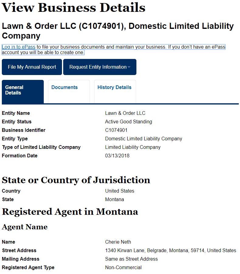 Montana LLC Business Name Details