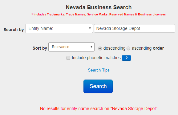 Nevada Business Name Availability