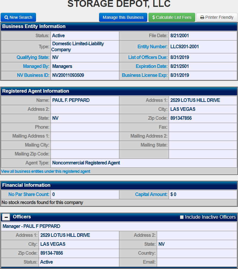 Nevada LLC Name Search Results