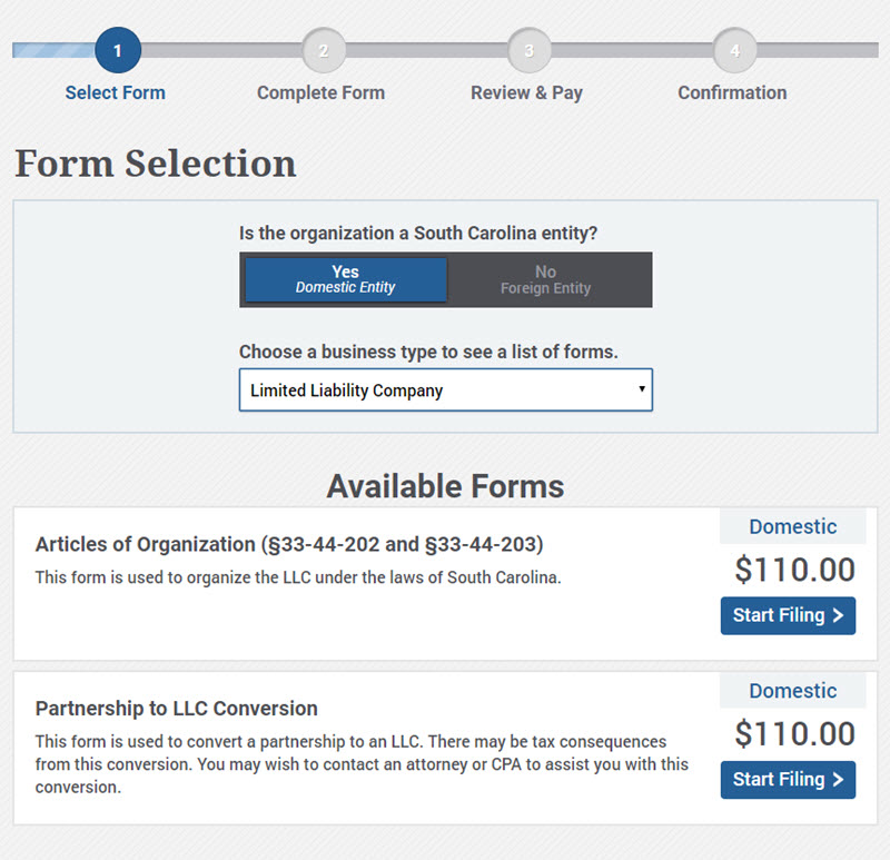 SC LLC Form Selection - Domestic Entity