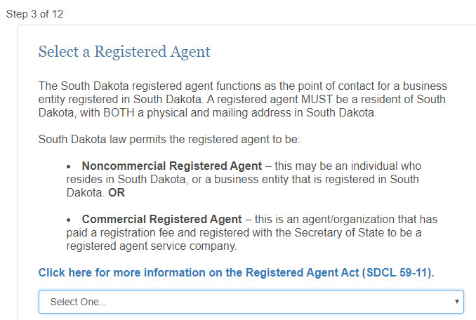 Select a Registered Agent for South Dakota LLC