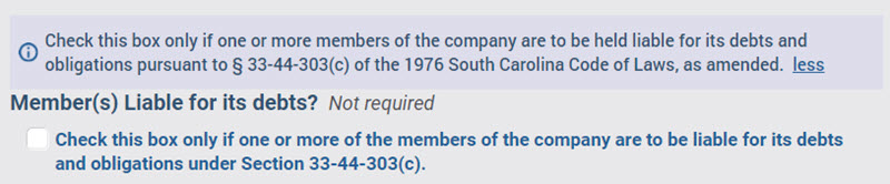 South Carolina LLC Members Liable for Debts