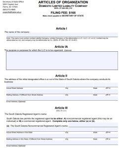South Dakota LLC Articles of Organization   PDF Download