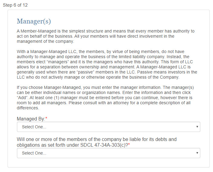 South Dakota LLC Manager vs Member Managed