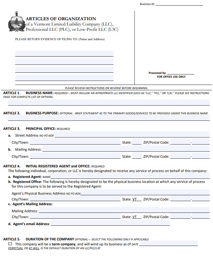 Vermont LLC Artiicles of Organization PDF