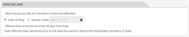 Washington LLC Effective Date